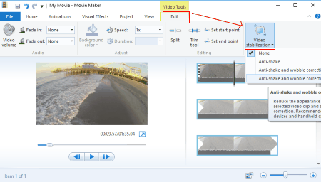 Printscreen do Windows Movie Maker- Estabilização de video